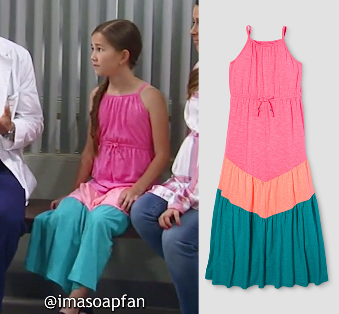 Emma Scorpio Drake, Brooklyn Rae Silzer, Pink, Peach, and Turquoise Blue Colorblock Maxi Dress, Cat & Jack, GH, General Hospital, Season 55, Episode 05/19/17