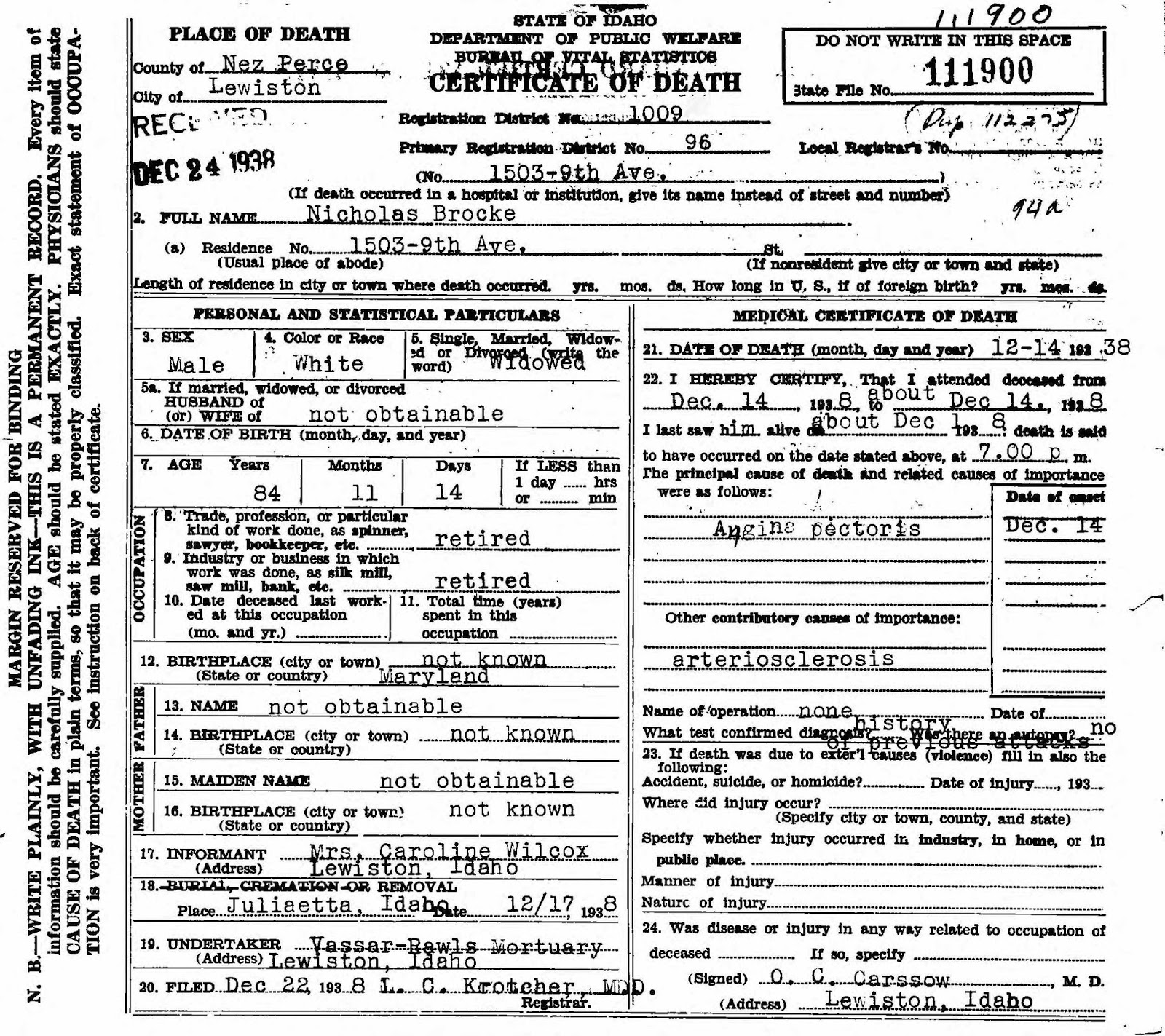 Genea musings treasure chest tuesday 1938 death record for this weeks tuesday treasure is the 1938 death certificate record for nicholas brocke found in the idaho death records 1890 1966 collection on ancestry 1betcityfo Choice Image
