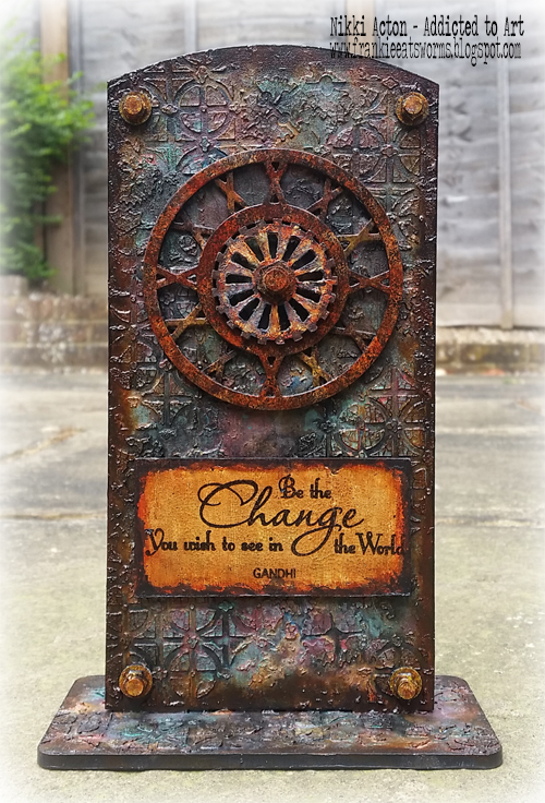 Seth Apter Steering Wheel die, That's Crafty upright and lots of rust - by Nikki Acton