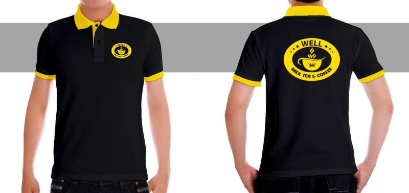 mẫu đồng phục cổ bẻ màu đen phối vàng đậm