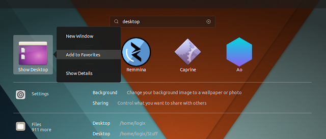 Add Show Desktop favorites Gnome Shell