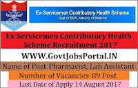 Ex-Servicemen Contributory Health Scheme Recruitment 2017– 89 Pharmacist, Lab Assistant