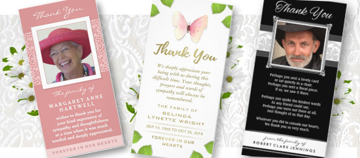 vertical photo gloss custom sympathy thank you cards