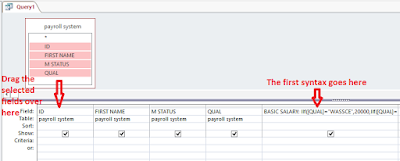 Sample syntax for the payroll query