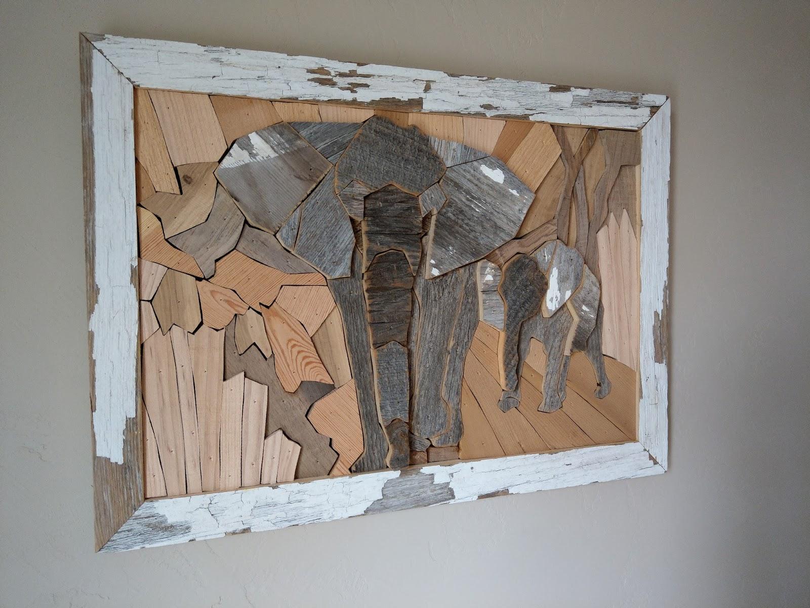 Susan Marie May Wood Wall Art Elephant Art Reclaimed Wood Wall Art