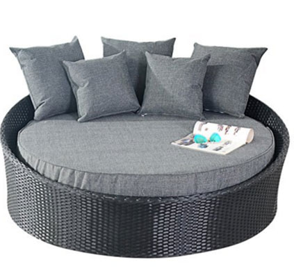 Port Royal Prestige Rattan Garden Furniture Daybed Sun Lounger - Black, Round Outdoor Daybeds UK, Outdoor Daybeds UK, Daybeds UK, Outdoor Daybeds at Amazon.co.uk, Amazon.co.uk, Best Outdoor Daybeds, Outdoor Furniture, Quality Outdoor Daybeds,