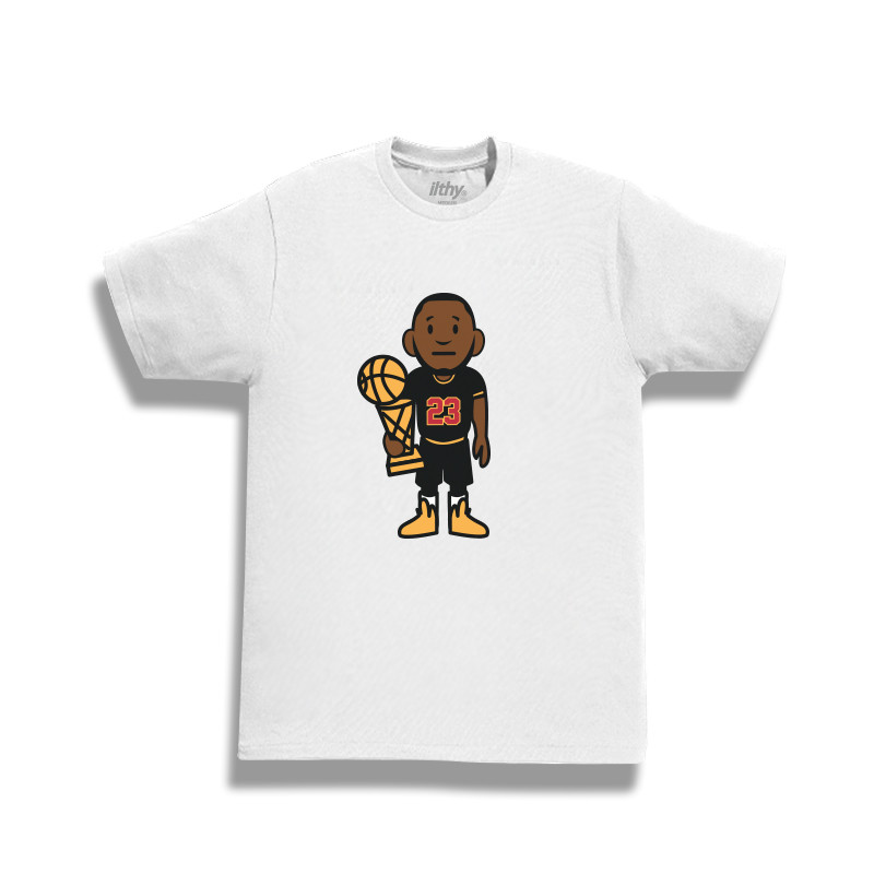 Commemorate the moment with this cartoon version of LeBron James on the  Ilthy Trophy T-Shirt. cdd8985bf66e