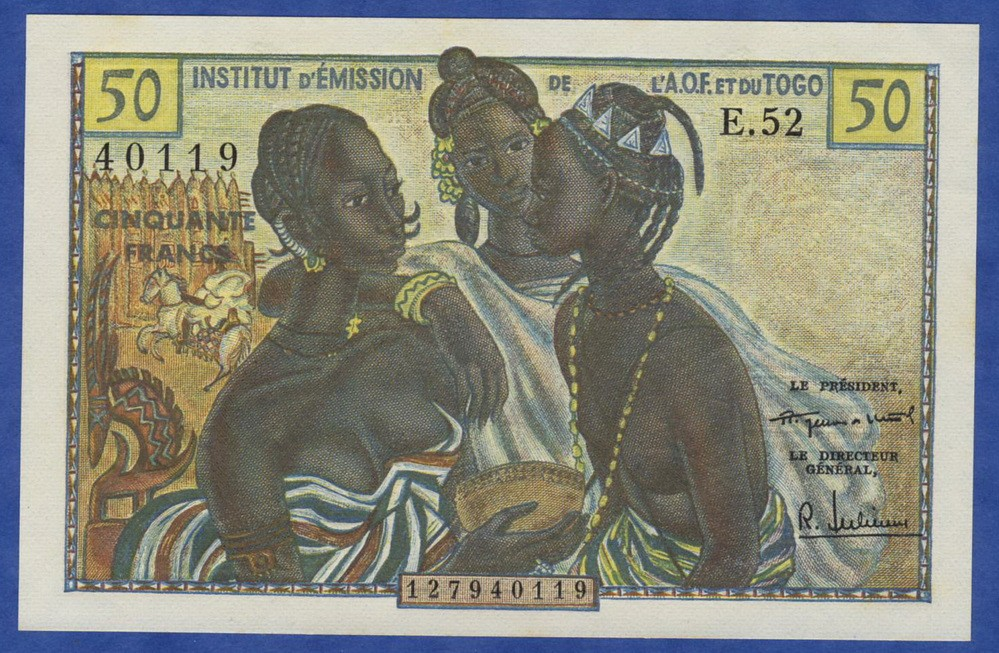 French West Africa Banknotes 50 Francs Banknote Of 1956