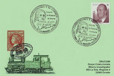 Tarjeta del matasellos de la Feria de Muestras de Asturias: Historia de la minería: Campomanes y el Correo