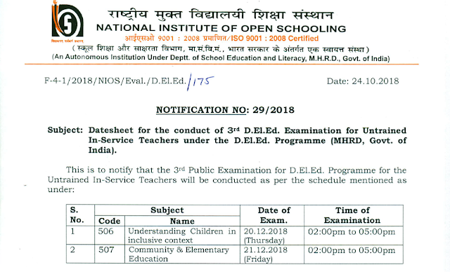 DELED NIOS Exam Date For The Subject 506 507 Out Check Here