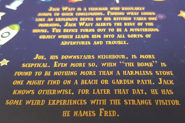 A Stone Called Fred back page blurb with fiction story outline