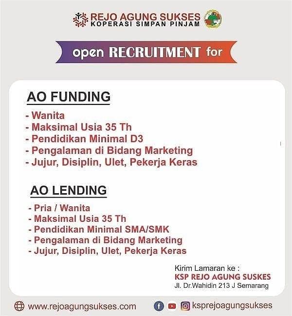 Lowongan Kerja Ksp Rejo Agung Sukses April 2019 Ao Funding Dan Landing Semarang Loker Swasta