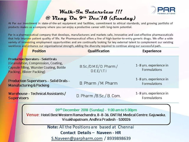 PAR PHARMACEUTICAL - Pharma job