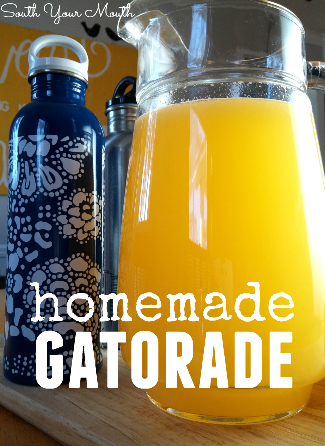 Homemade Gatorade! A recipe for electrolyte-packed sports drink including variations for orange, cranberry, lemon-line and ruby red grapefruit with only 4 ingredients!