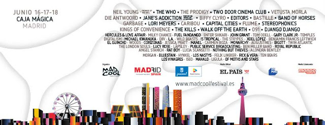 Cartel, Mad Cool, 2016, Madrid, Horarios
