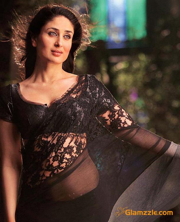Kareena Kapoor Black Saree 2012