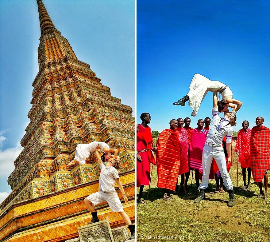 Bangkok, Thailand (left) | Masai Mara Village, Kenya (right) - Acrobat Couple Gets Married In 38 Different Places Around The World In 83 Days