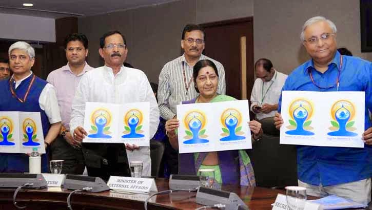 International Yoga Day logo launch, Sushma Swaraj, Union Minister for External Affairs Sushma Swaraj, Shripad Naik, logo for Internal Day of Yoga