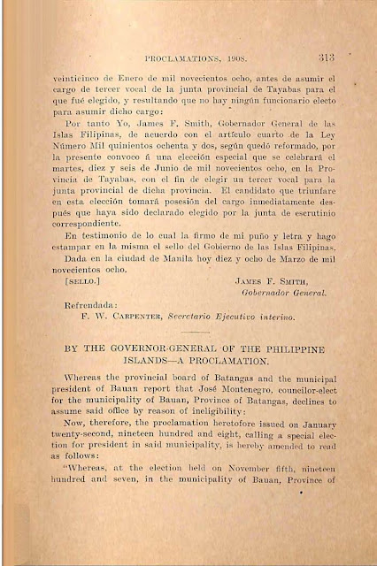 1908 proclamation to select replacement councilor, English version.