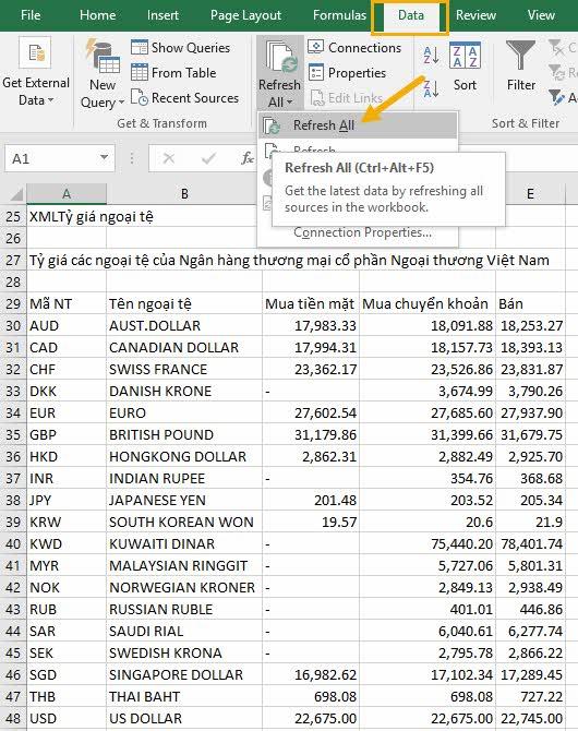 Cập nhật tỷ giá tự động vào bảng tính excel