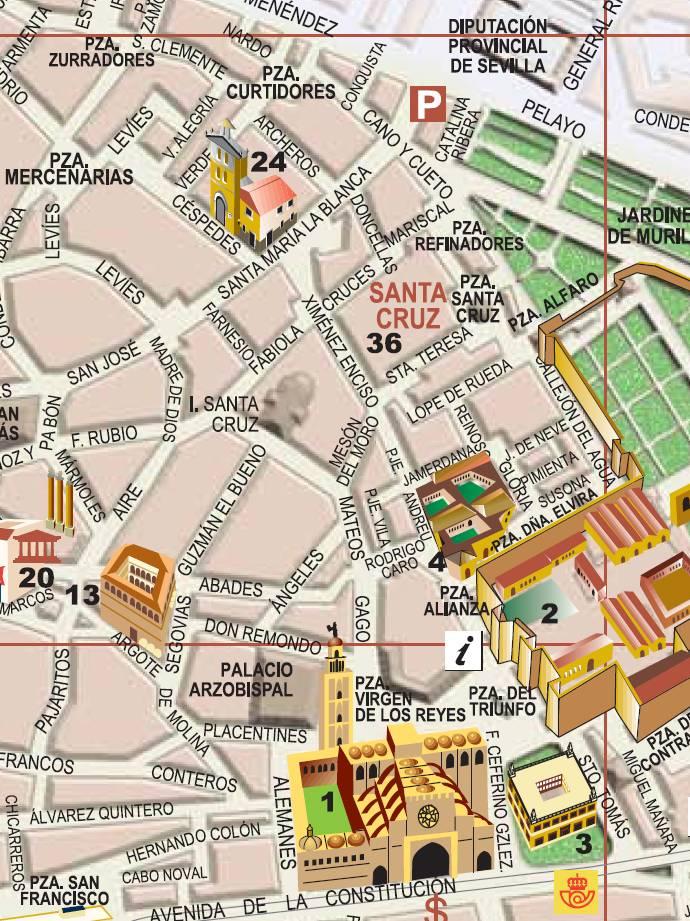 mapa de sevilha Um rápido passeio (mapa) pelo Barrio Santa Cruz, em Sevilha  mapa de sevilha