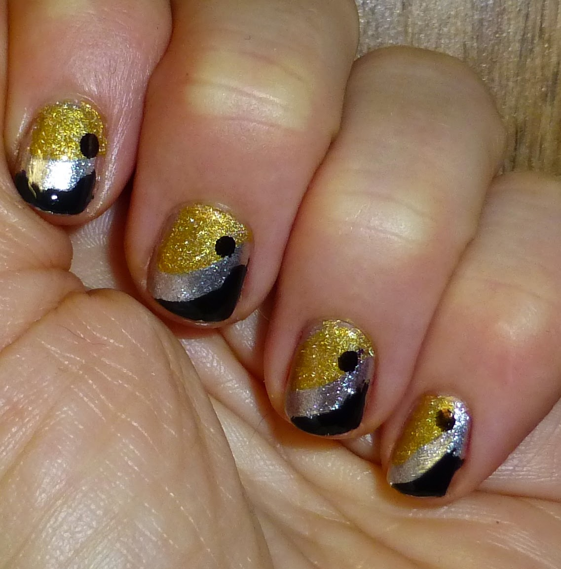 Metal and Black Nail Art