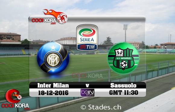 مشاهدة مباراة ساسولو وإنتر ميلان اليوم 18-12-2016 في الدوري الإيطالي