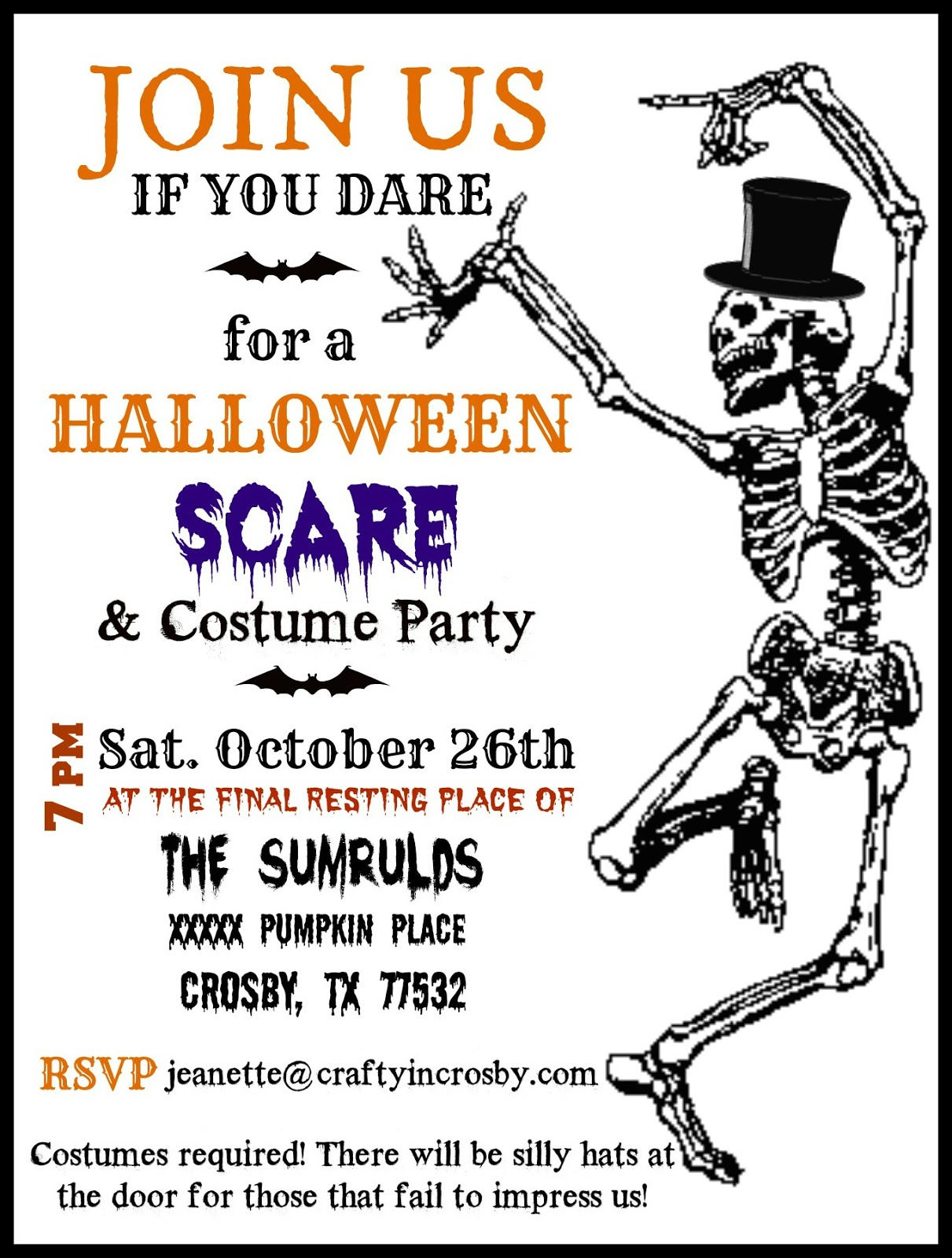 Crafty in Crosby: Halloween Party Invitations with Template