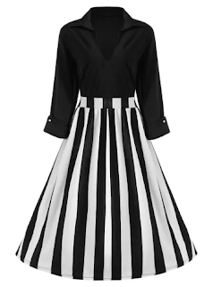 Rosegal | Striped Vintage Plus Size Dress