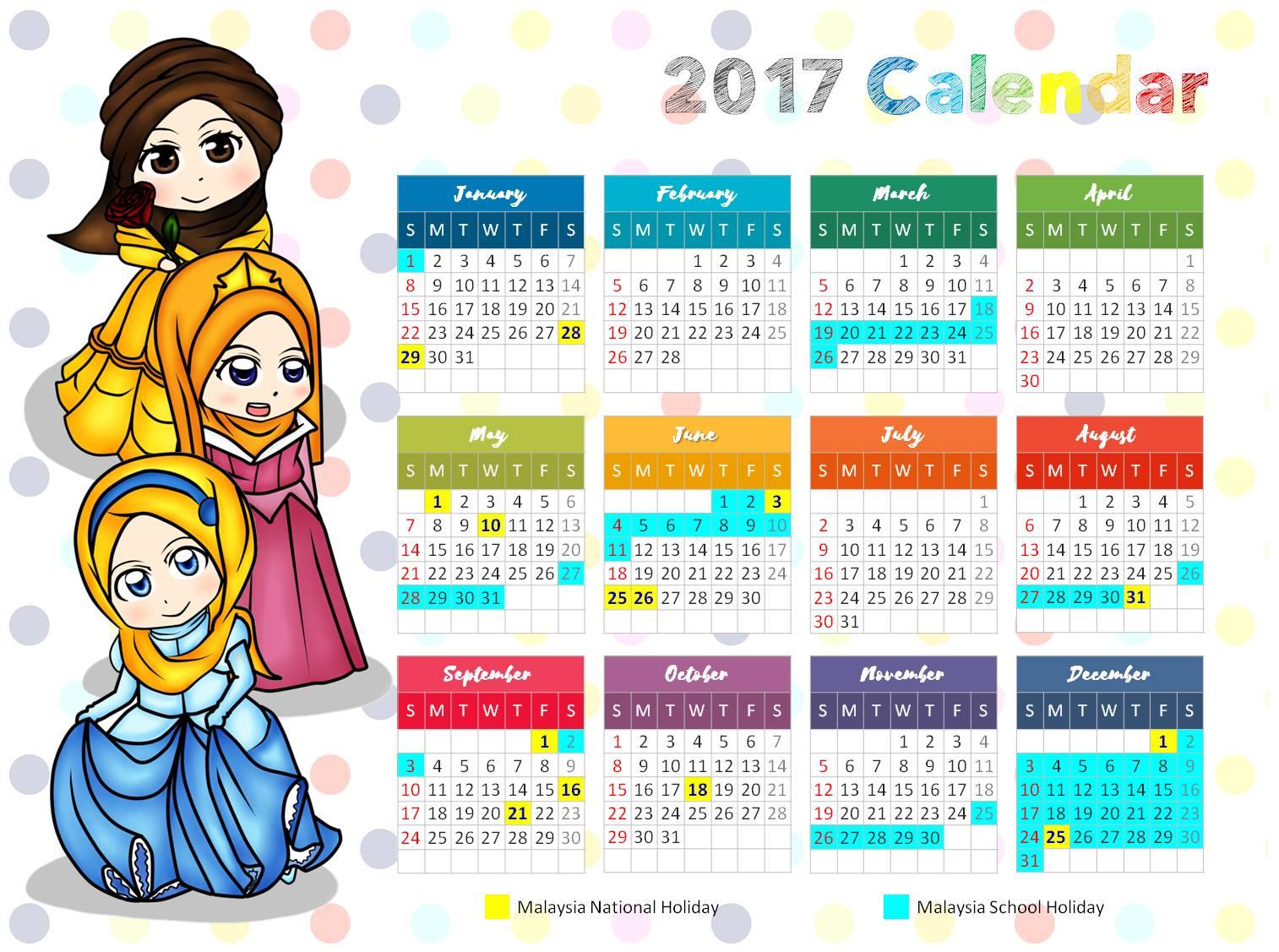 Free Little Muslimah Calendar Islamic Homeschooling