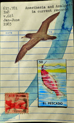 Nietzsche Mexican lottery card el pescado fish United states airmail postage stamp gull bird library card Dada Fluxus mail art collage
