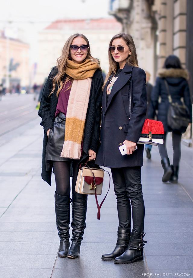 Dajana Bartolić i Marijana Kajkić, how to style black leather shorts, knee high boots and longline cardigan with colorful mini shoulder bag