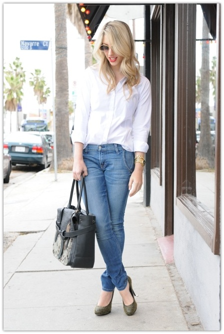 art symphony blue jeans white shirt