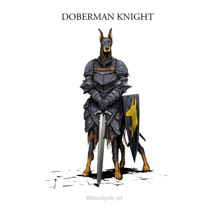01-Dobermann-Knight-Nikita-Orlov-Mythical-Dog-Centaur-Digital-Paintings-www-designstack-co