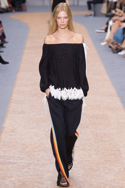 spring 2016, spring trends, track pants, side stripe pants, street style, athleisure, off shoulder top