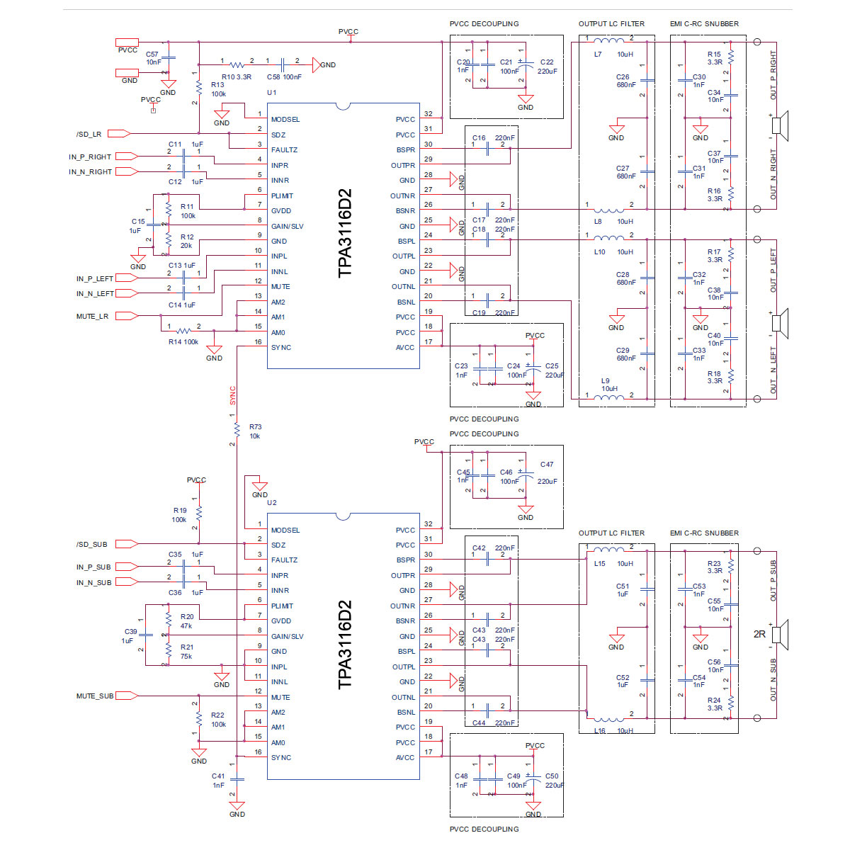 small resolution of class d tpa3116d2 2 1 channel audio amplifier circuit schematic 2x50w 100w