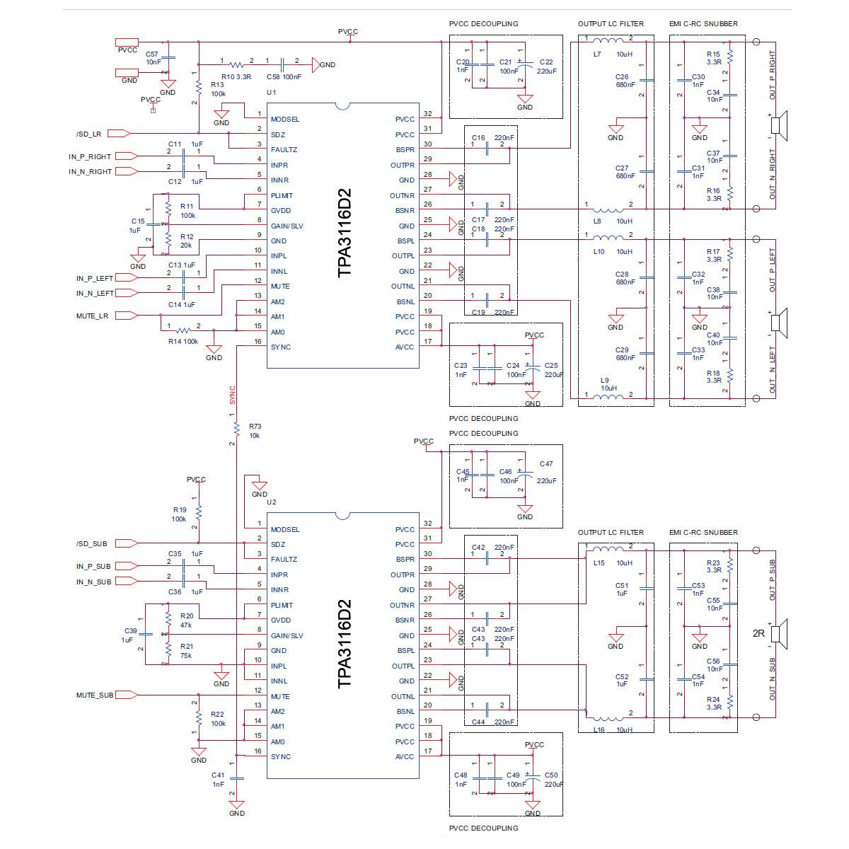 medium resolution of class d tpa3116d2 2 1 channel audio amplifier circuit schematic 2x50w 100w