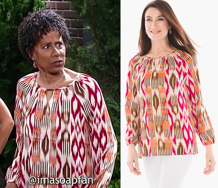 Stella Henry, Vernee Watson, Pink, Orange, and Brown Ikat Print Top, General Hospital, GH