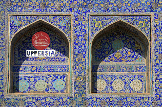 tile work in a Persian Mosque, Iran.