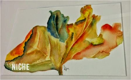 Watercolor of a leaf, rendition by Shari Monner, VaryNiche.com