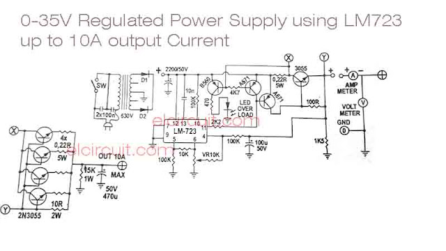 LM723 Adjustable power supply circuit with over current protection indicator