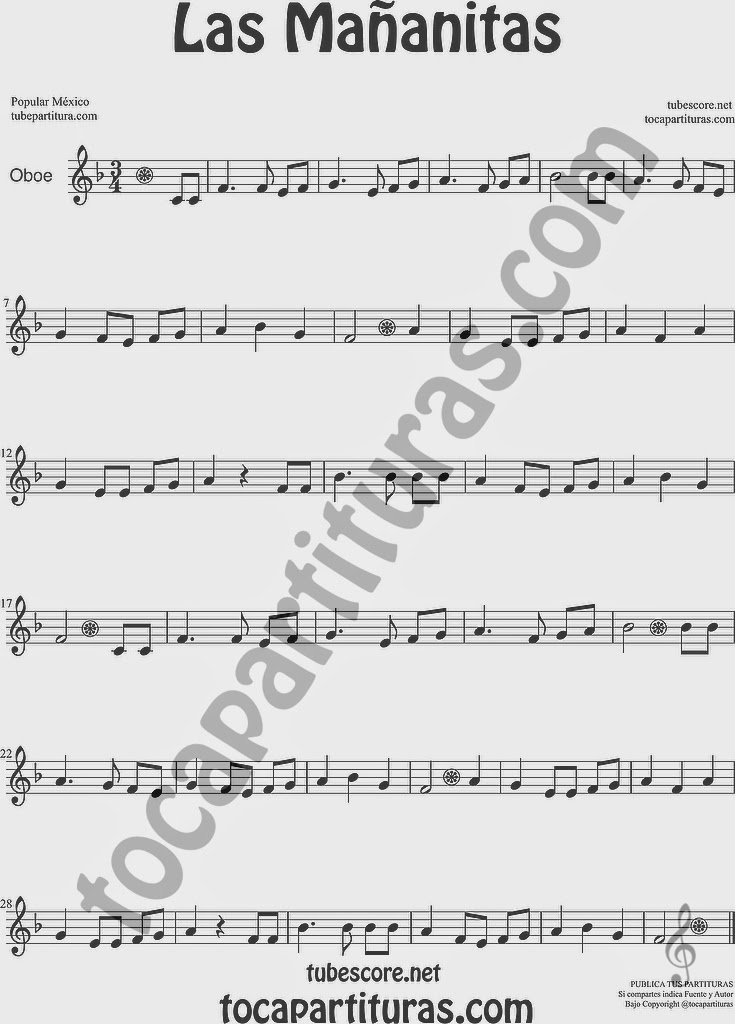 Las Mañanitas Partitura de Oboe Sheet Music for Oboe Music Score