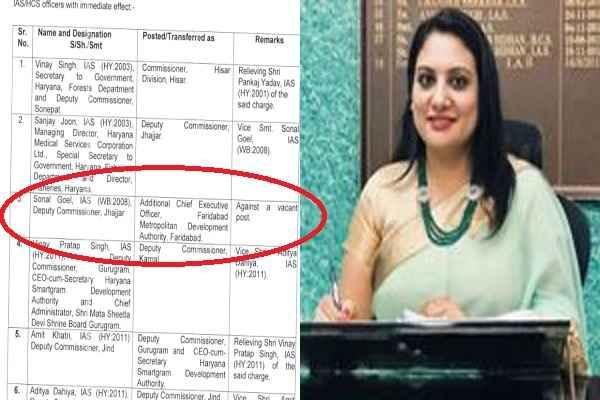 ias-sonal-goel-additional-ceo-faridabad-metropolitan-development-authority-news
