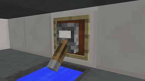 蛇口をさらにリアルにするなら「レバー」を取り付けた壁に「額縁」を追加してその中にハーフブロックなどを入れると、水道のハンドルっぽい見た目にできます。