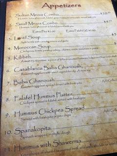 Casablanca Memphis menu, Casablanca restaurant