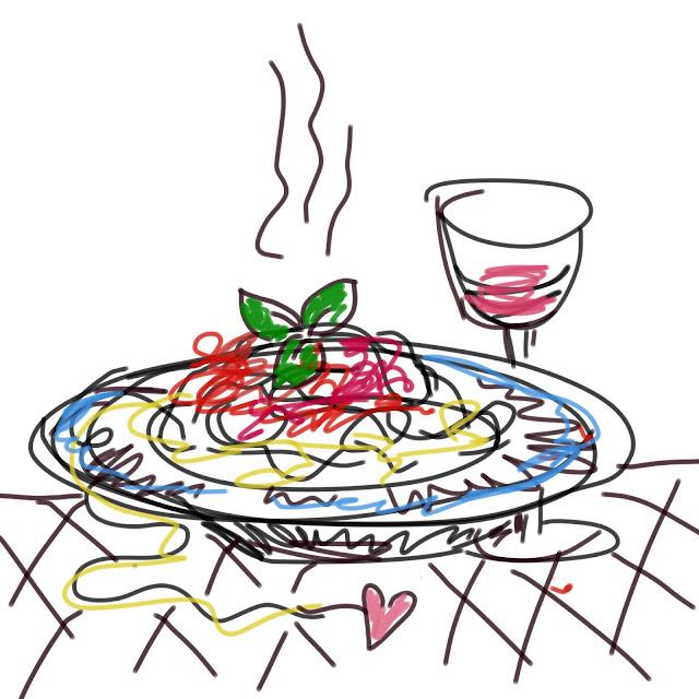 gezeichnetet Teller voller Spaghetti mit Tonatensauce. Dazu ein Glas Rotwein. Von Meike Kröger