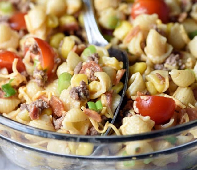 Cowboy Pasta Salad #healthysalad #sidedish