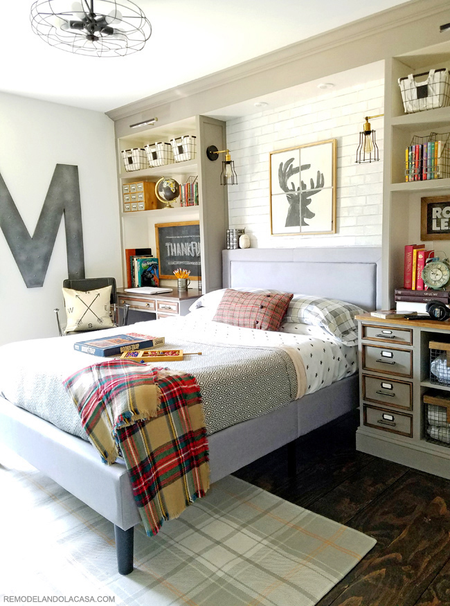 industrial teen boy room with built-ins around the bed, grey and white pallet and fall touches