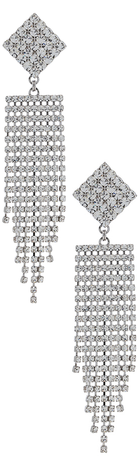 ALESSANDRA RICH  Diamond Crystal Fringe Earrings