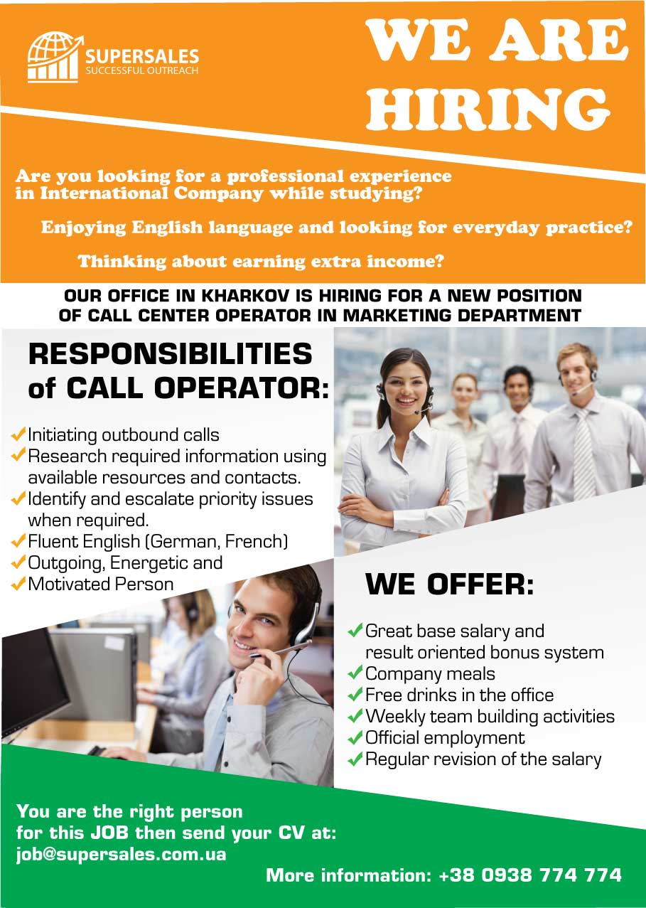 Call Center Operator in Marketing Department